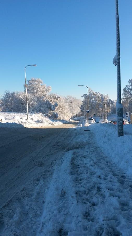 Snowy-Morgen in Gothenburg lizenzfreie stockbilder