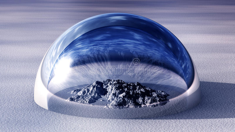 Snowy Mountain Inside Of Half Glass Dome royalty free illustration