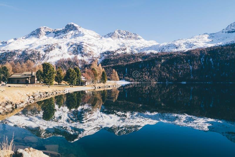 Snowy mountain lake royalty free stock photo