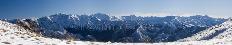 Snowy Mountain Panorama stock photo