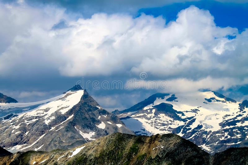 Snowy mountain peak. stock photo