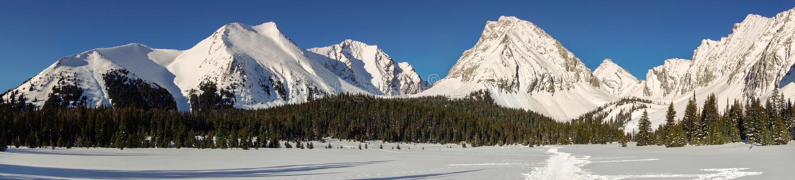 Snowy Mountain Peaks Panoramic Landscape Cold Winter Kananaskis Alberta Canada. Wide Panoramic Landscape of Snowy Mountain Peaks Snowshoeing on a cold Winter Day royalty free stock photos