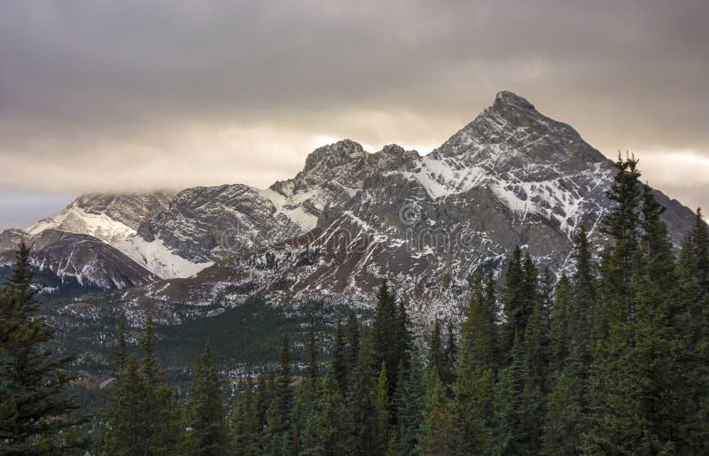 Stormy Skies over Mountain Rae in Kananaskis Country Alberta stock photos