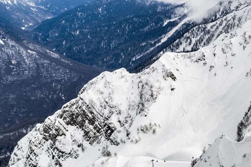 Snowy mountain range sochi Russia height 2320 stock photos