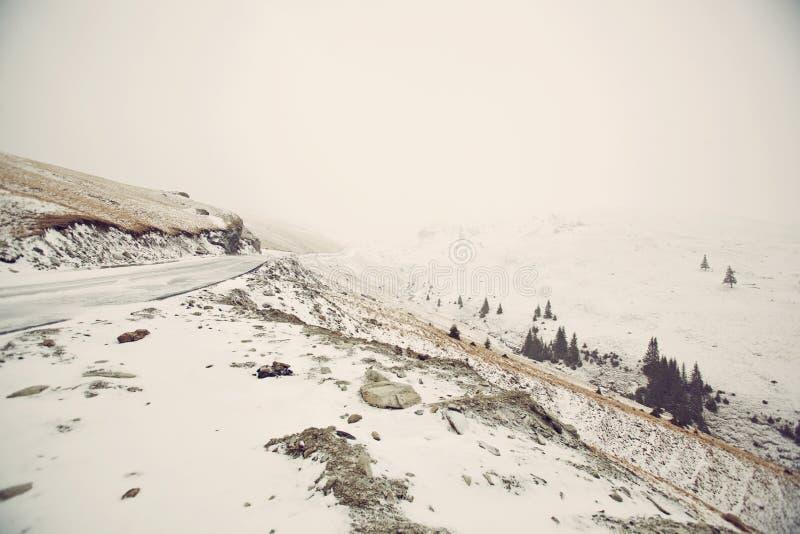 Snowy Mountain Road Royalty Free Stock Photos