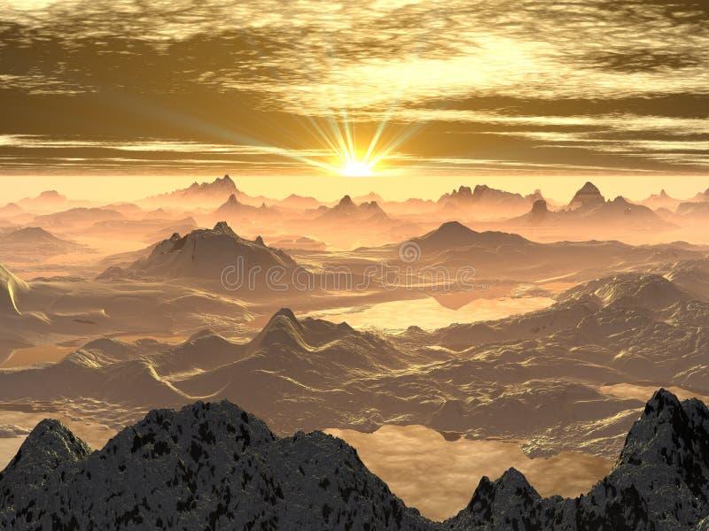 Snowy Mountain Sunrise royalty free stock image