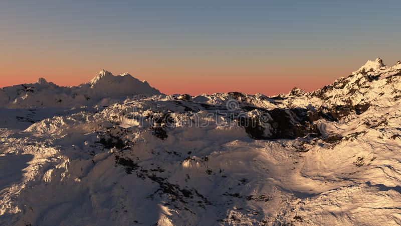 Snowy Mountain Sunset royalty free illustration