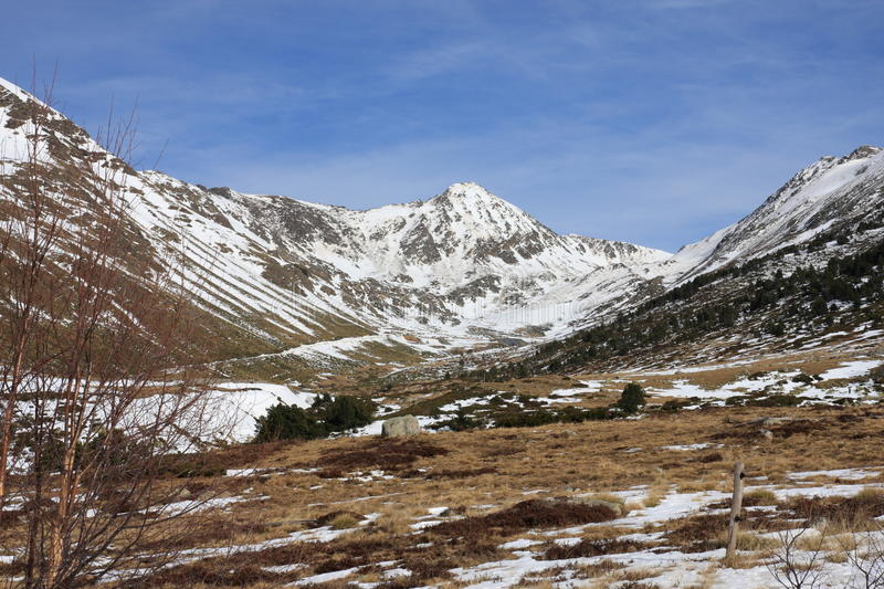 Snowy mountains in Ariege, France. Snowy mountains in Ariege, Occitanie in south of France stock images