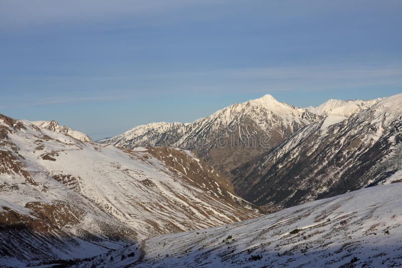 Snowy mountains in Ariege, France. Snowy mountains in Ariege, Occitanie in south of France stock photos