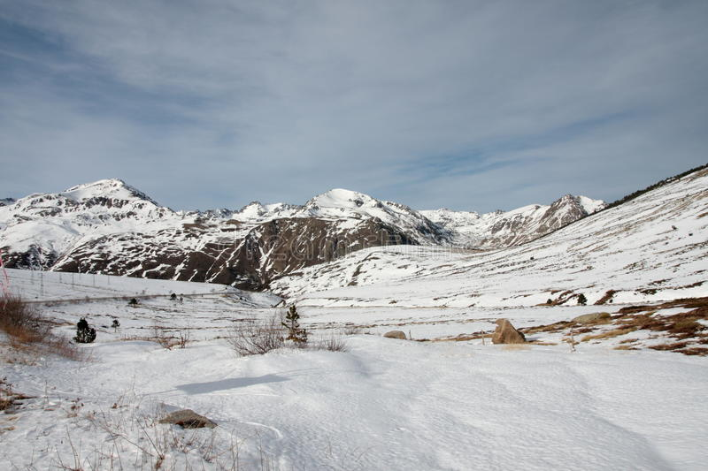 Snowy mountains in Ariege, France. Snowy mountains in Ariege, Occitanie in south of France royalty free stock photo
