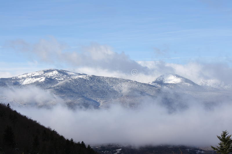Snowy mountains in Ariege, France. Snowy mountains in Ariege, Occitanie in south of France royalty free stock image