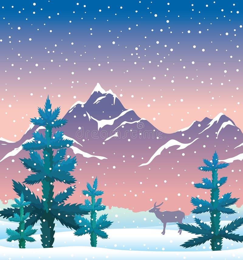 Winter nature ilandscape - fir, mountains, deer, snow, sunset sk stock illustration