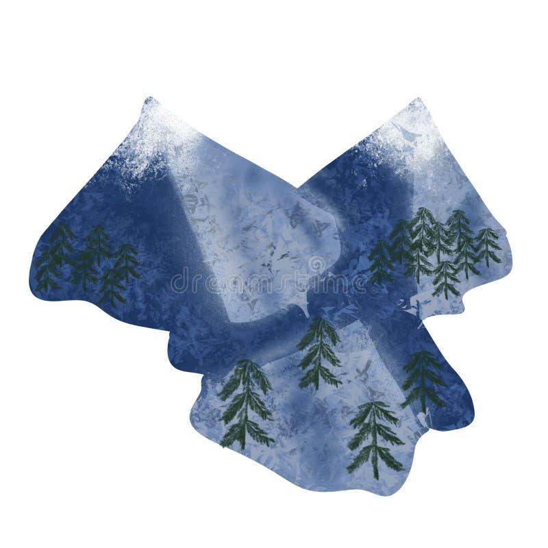 Snowy Pine Trees In Heart Shape Illustration Stock ...