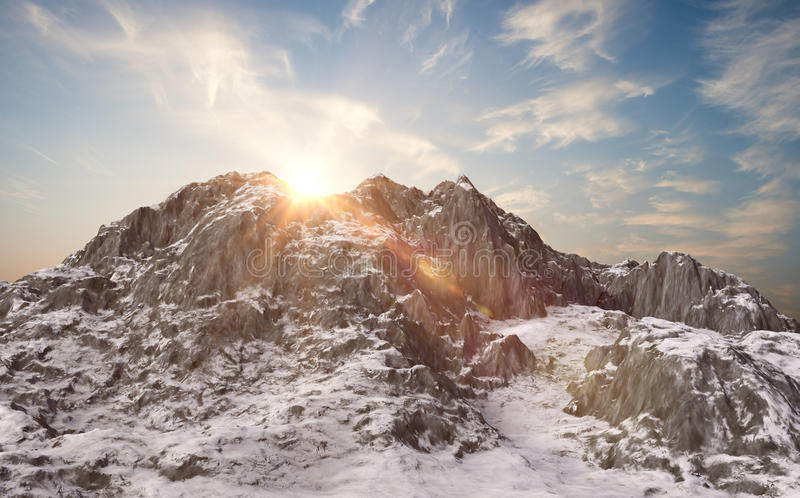 Snowy mountains. Winter landscape. 3d render vector illustration