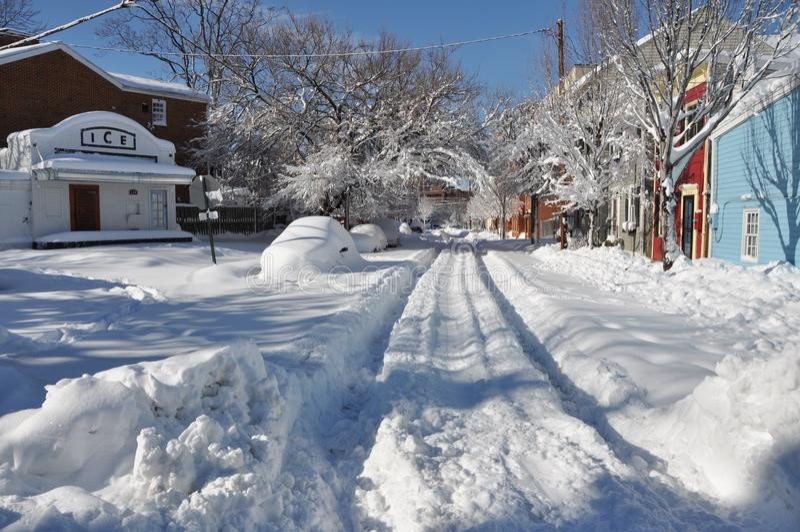 Snowy-Nachbarschaft stockbilder
