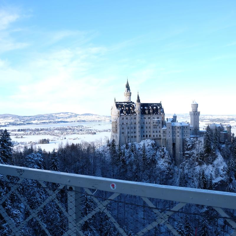 Snowy Neuschwanstein Castle during Winter royalty free stock photo