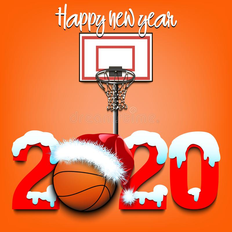 Basketball Christmas 2020 Snowy New Year Numbers 2020 And Basketball Ball Stock Vector