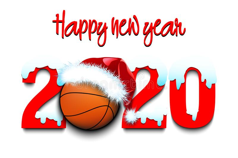 Snowy New Year Numbers 2020 And Basketball Ball Stock Vector