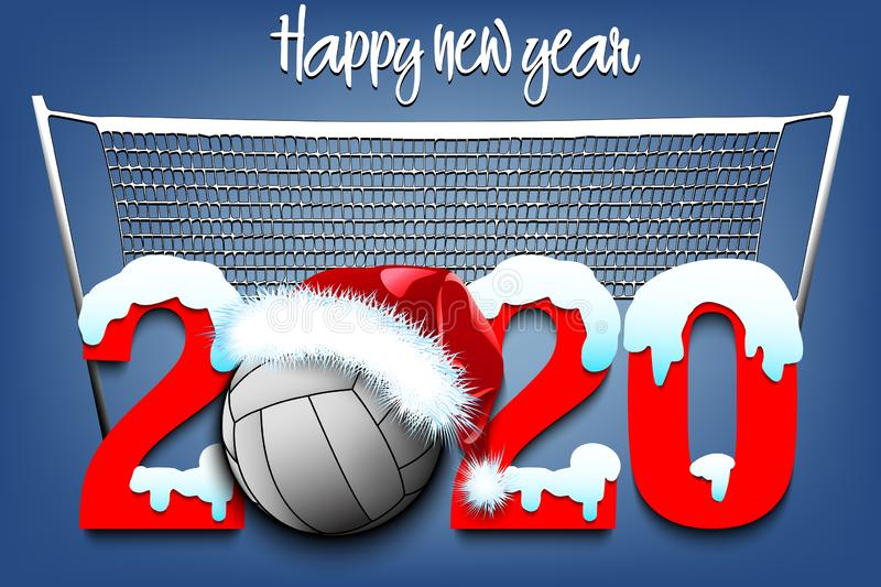Snowy New Year numbers 2020 and volleyball ball royalty free illustration