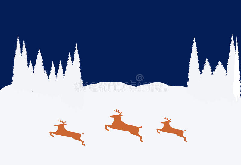 Download Snowy Night stock illustration. Image of deer, background - 11349753