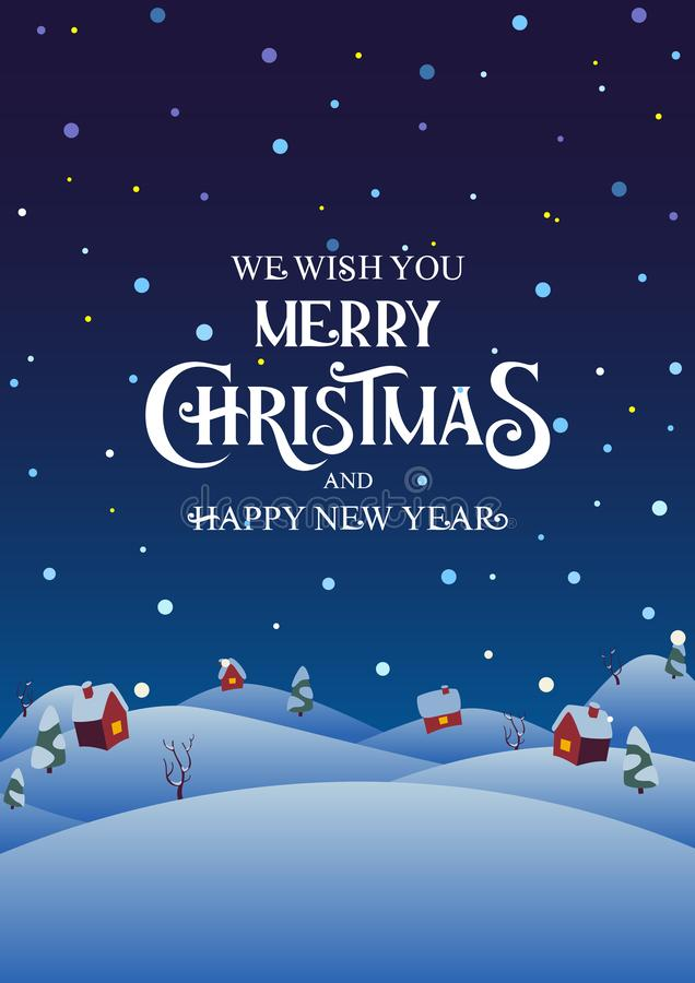 Snowy night village with text Merry Christmas and Happy New Year stock photo