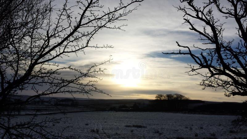 Snowy Northumberland fotografia stock libera da diritti