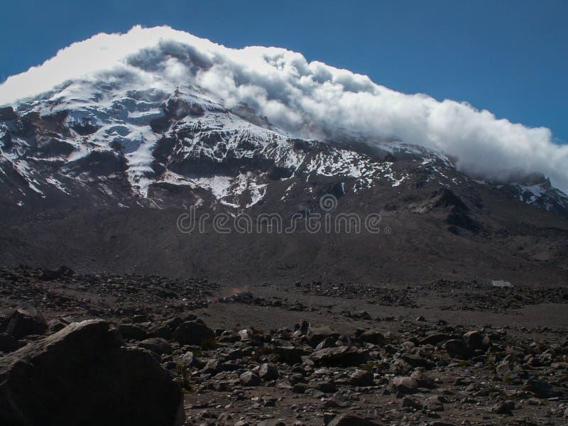 Snowy nuvoloso Chimborazo immagine stock libera da diritti