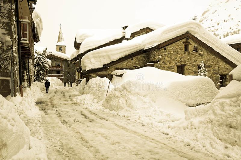 The snowy Old Village of Val d`Isère royalty free stock photography