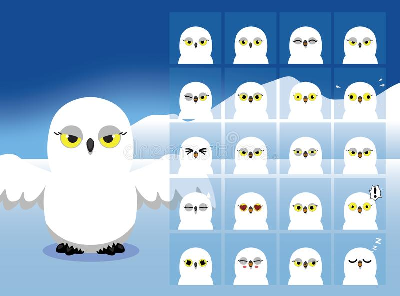 Snowy Owl Cartoon Emotion affronta l'illustrazione di vettore illustrazione di stock
