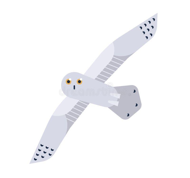 Snowy Owl flat vector illustration. Nyctea scandiaca minimalist drawing isolated on white background. Beautiful polar royalty free illustration