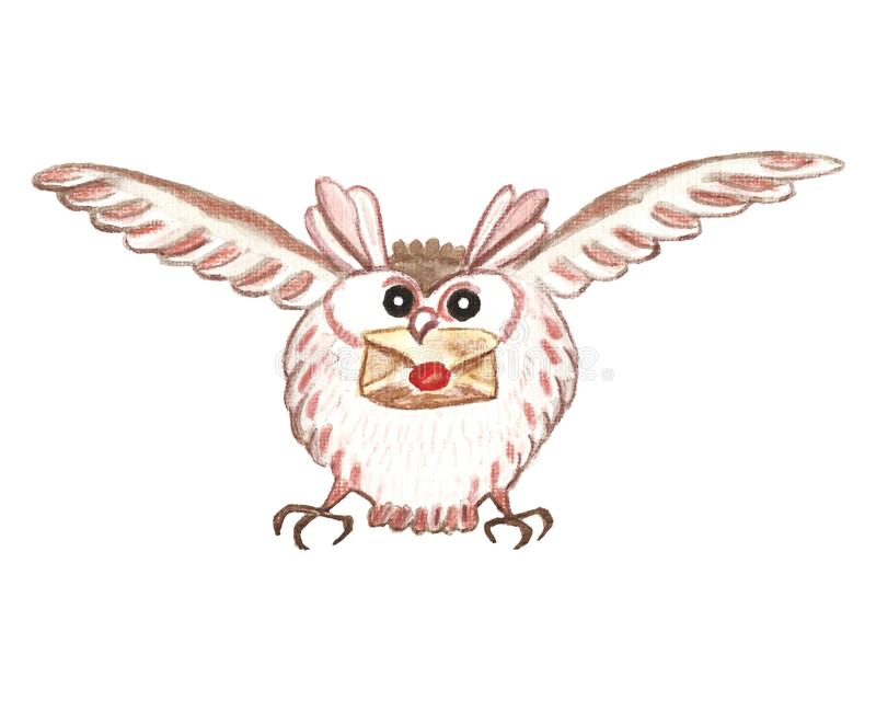 Snowy owl, flying with letter. Winter Christmas bird character, hand painted watercolor illustration vector illustration