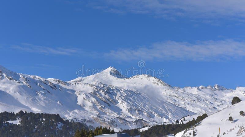 Snowy-Panorama des Hochgebirges, mit grünen Kiefern lizenzfreie stockbilder
