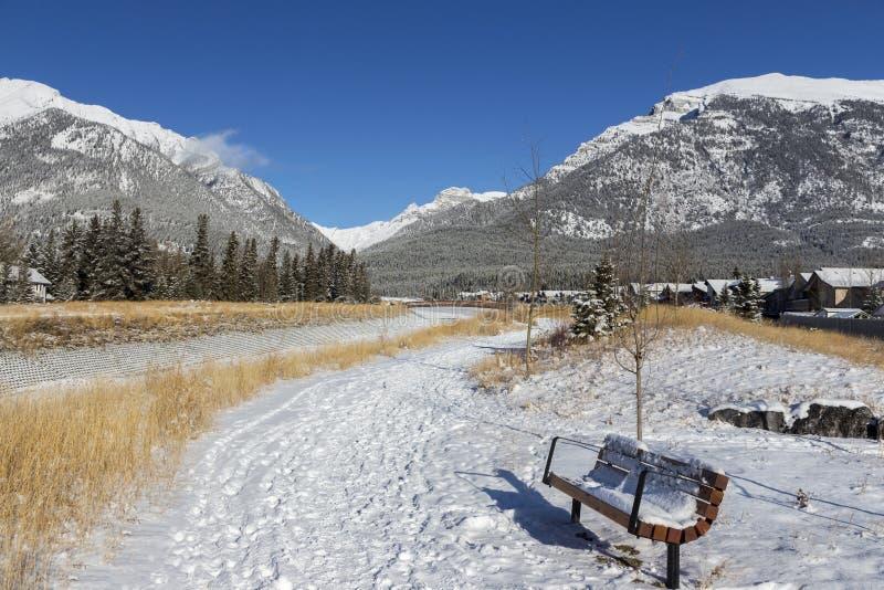 Snowy Park Bench Hiking Footpath Snowy Mountain Peaks Landscape Alberta Foothills Canadian Rockies royalty-vrije stock afbeelding