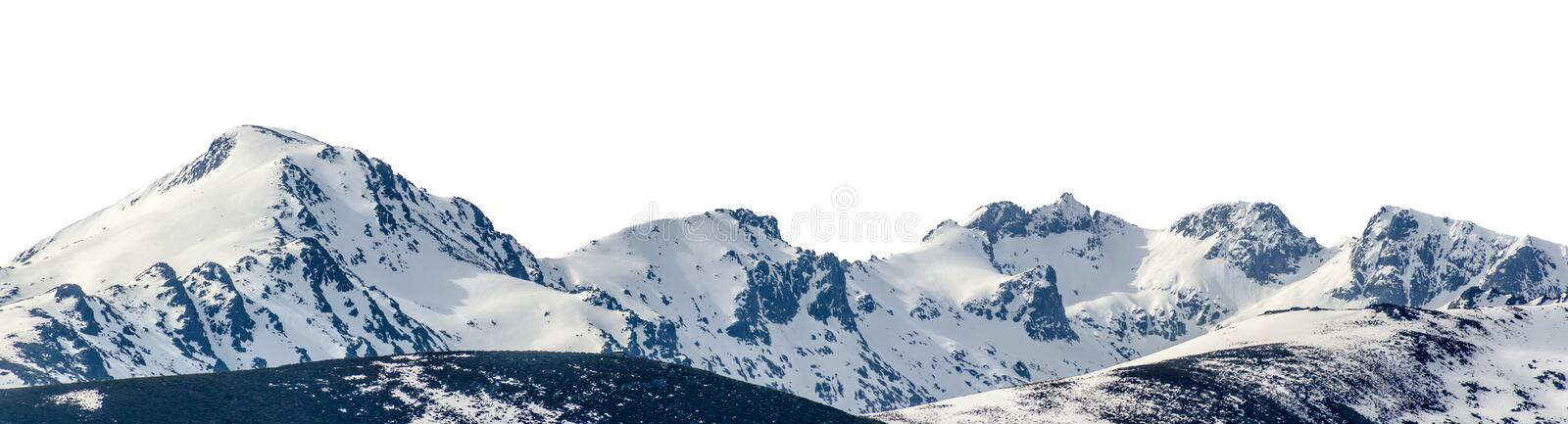 Snowy peaks in a mountain range isolated over white background stock photo