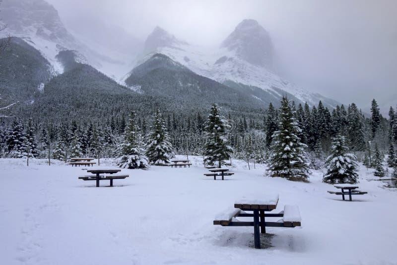 Snowy-Picknickplatz-kaltes Winter-Land Canmore Alberta Canada lizenzfreies stockfoto