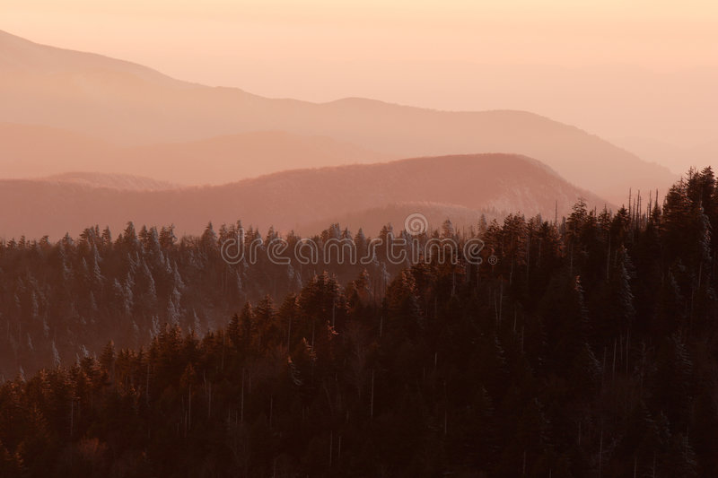 Snowy Pink Mountains stock images