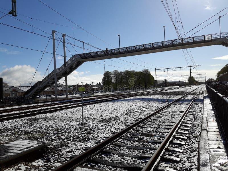 The snowy rail track in steenwijk, Netherland stock photo
