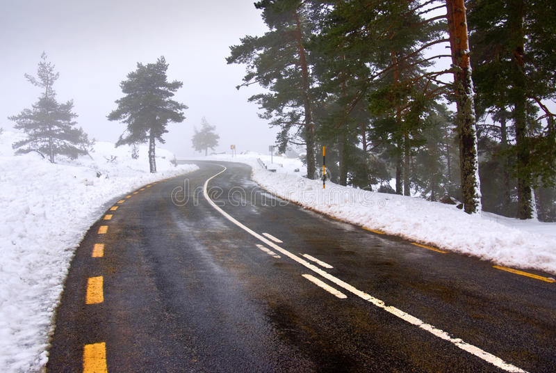 Download Snowy road stock image. Image of driving, high, road - 17854657