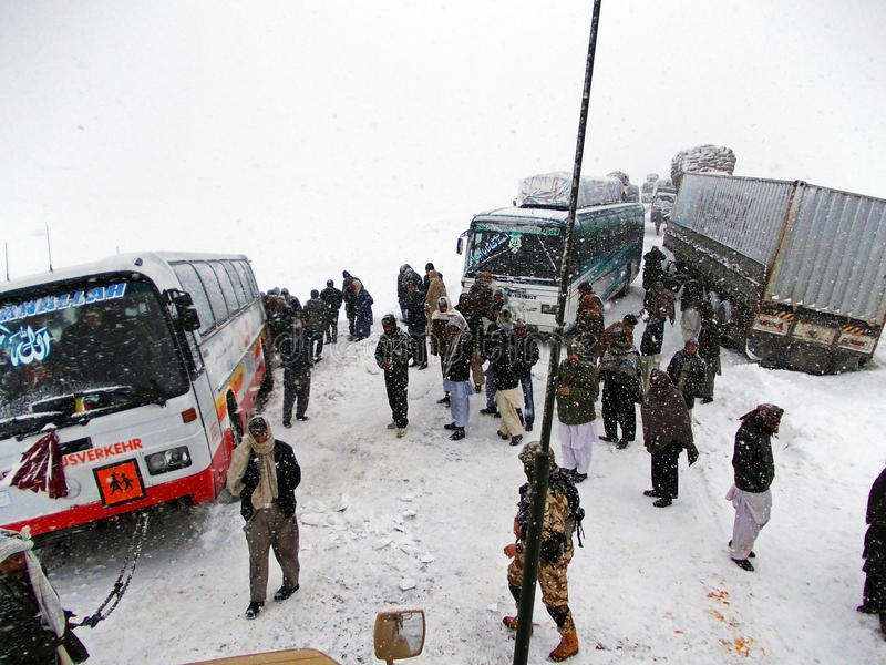 Snowy road in Afghanistan stock photo