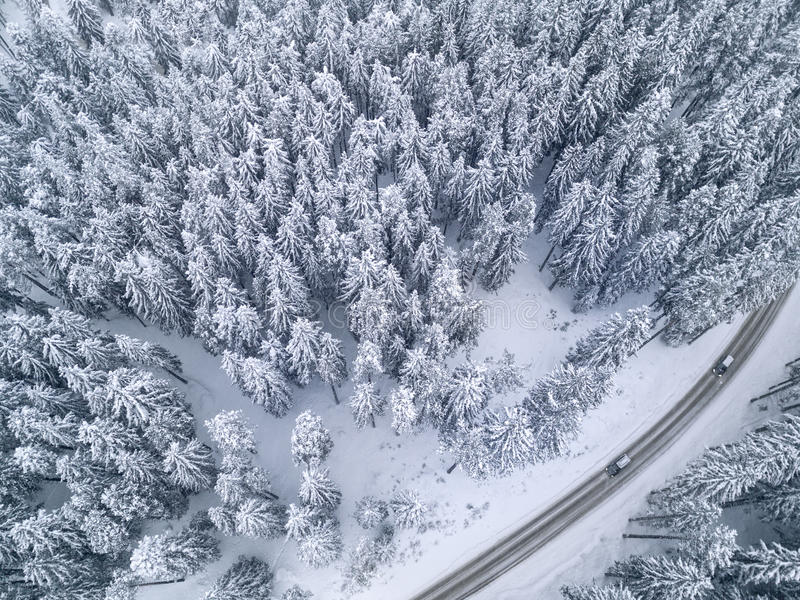 Snowy road with a car in the forest bird`s eye view. White snowy road with a car in the forest bird`s eye view stock photo