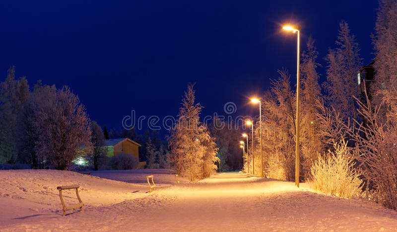 Download Snowy road at night stock image. Image of snow, cold - 20995111