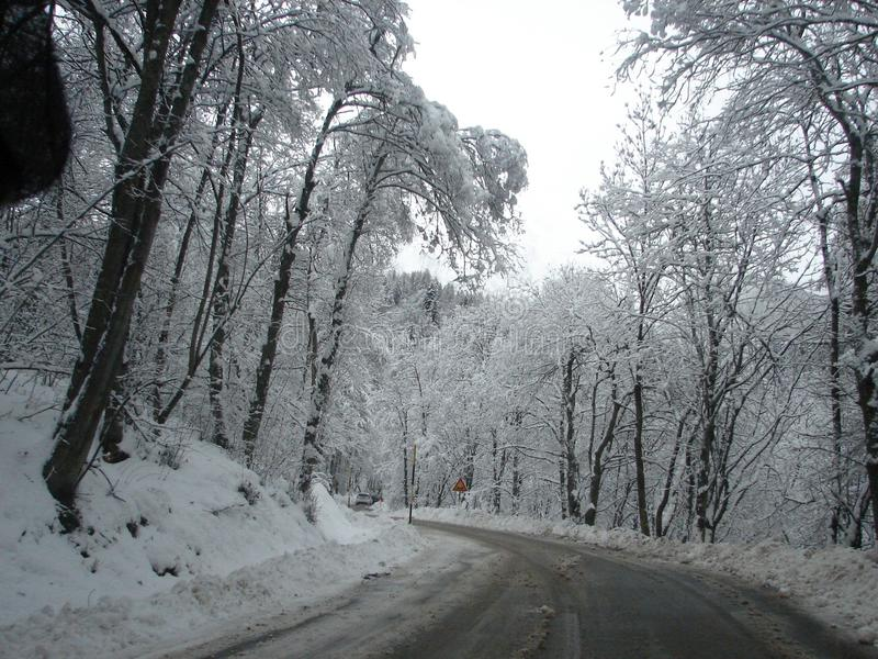 snowy roads stock photography