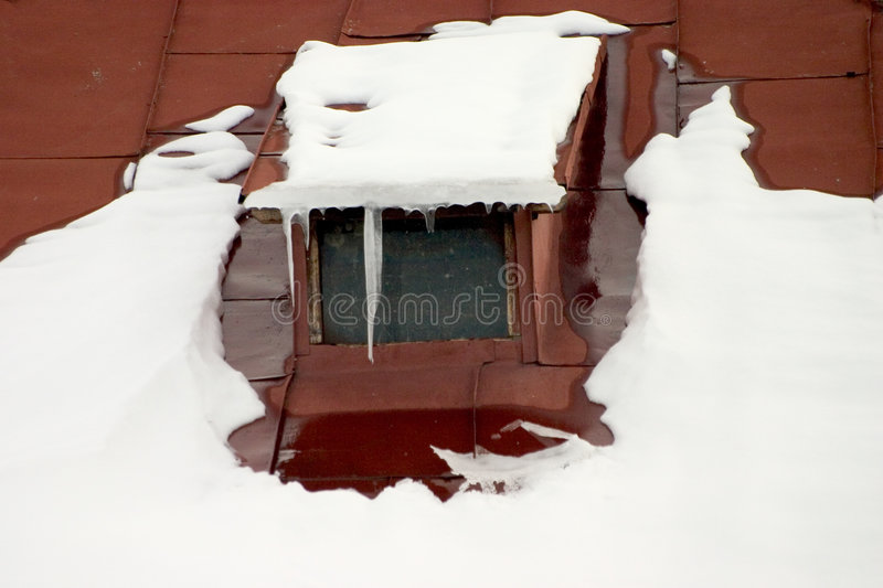 Download Snowy Rooftop stock image. Image of dirty, winter, icicle - 108951