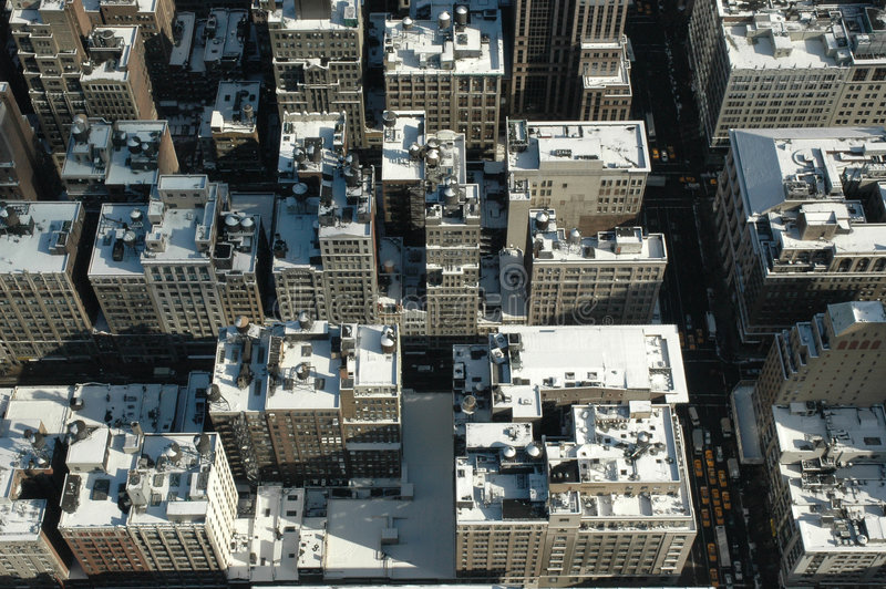 Snowy rooftops from above in New York City royalty free stock images
