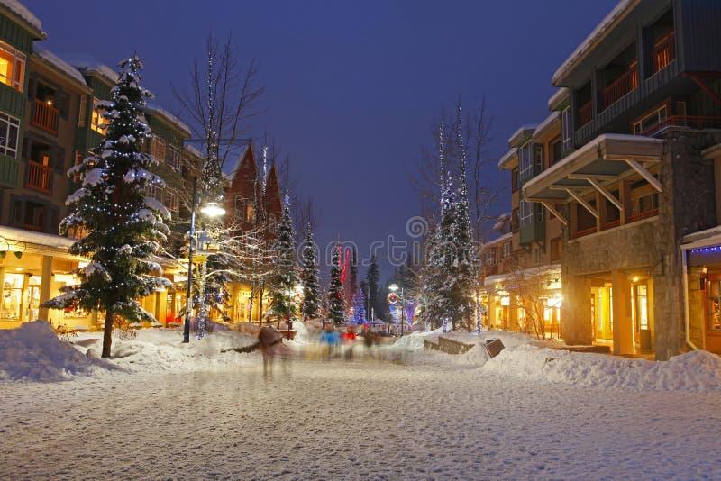 Snowy Scene of Winter Shopping stock image