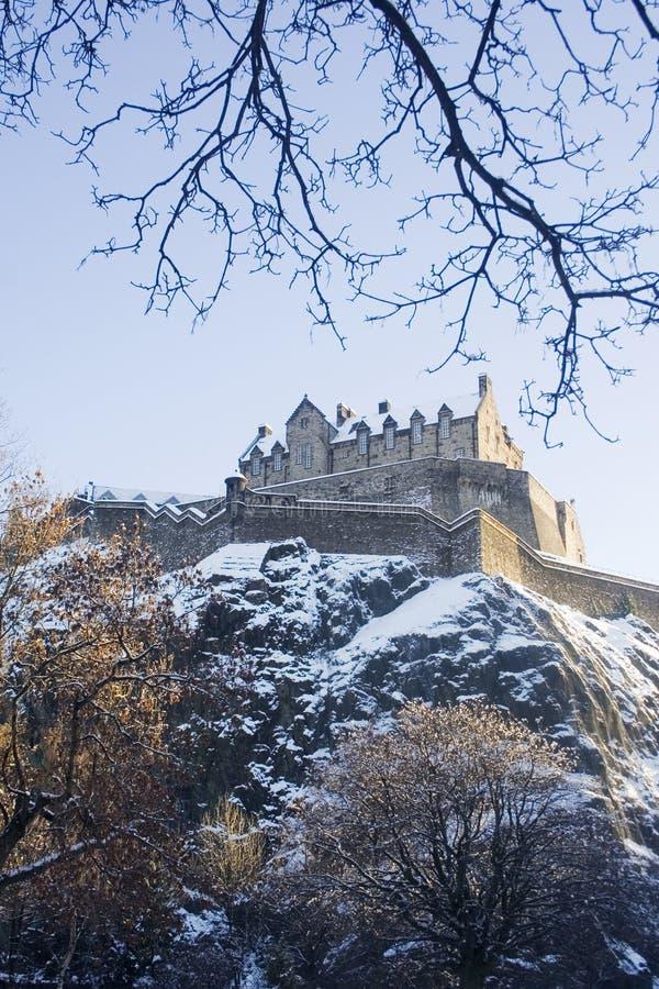 Snowy-Schloss stockfoto