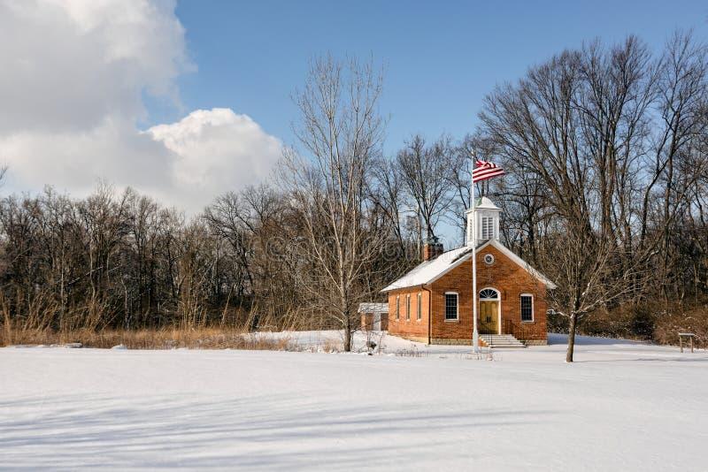 Snowy School House Scene stock photo