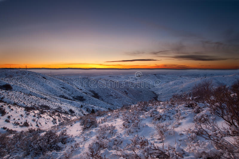 Snowy-Sonnenuntergang, Boise Identifikation stockbilder