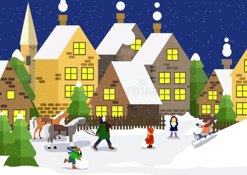 Snowy-Stadt Städtische Winterlandschaft mit Leuten im Park Auch im corel abgehobenen Betrag Winterstadtstraße Winterlandschaft mi vektor abbildung