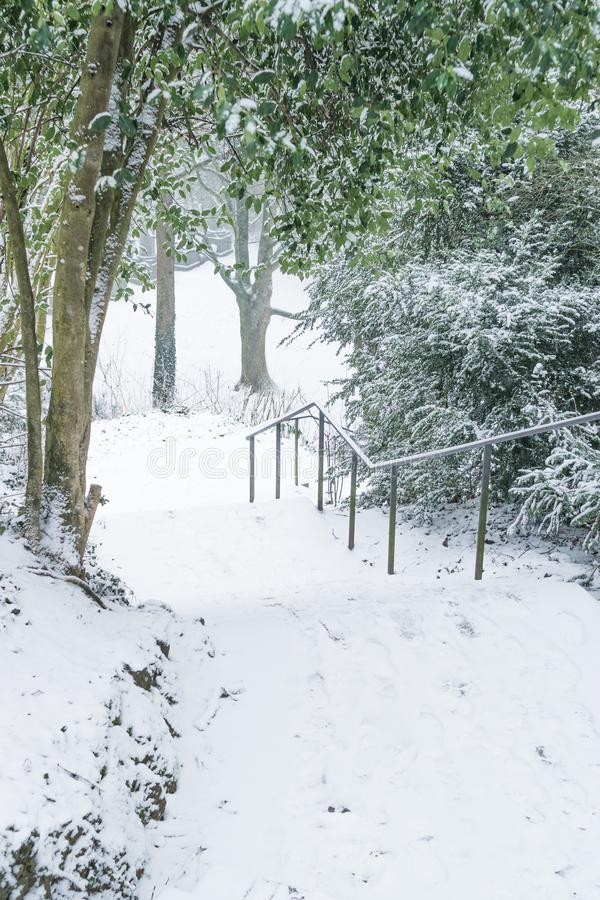 Snowy stairs at Lousberg in Aachen, Germany. AACHEN, GERMANY - Snowy landscape at the hill Lousberg, stairs, winter, cold, ice, outdoor, season, car, covered royalty free stock photos